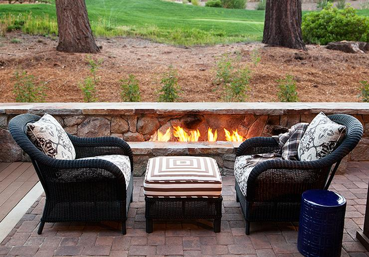 patio with fireplace transitional