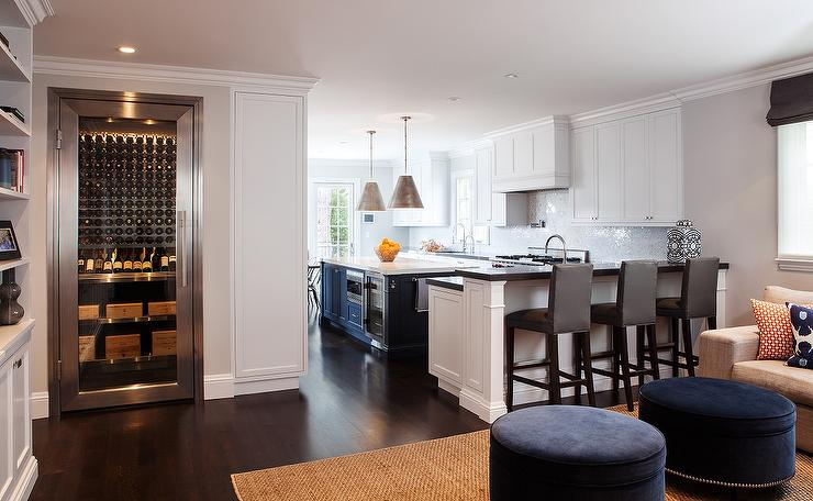 kitchen island with range narrow sink white and blue - cottage liz carroll ...
