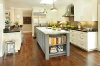 Gray Center Island with Cookbook Shelves - Transitional ...