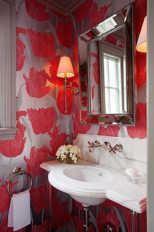 Powder Room with Beveled Beaded Mirror  Contemporary