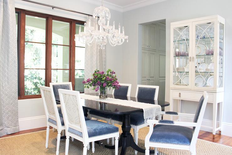 black living room chairs glass table lamps for dining with blue velvet transitional