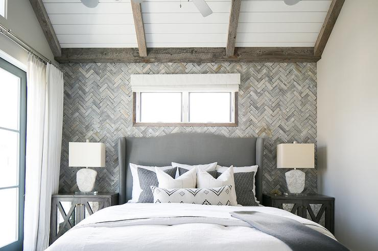 Gray Wingback Headboard with Gray Mirrored Nightstands  Transitional  Bedroom