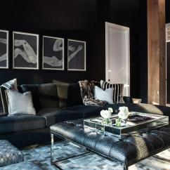 Black Sofa Living Room Images Denim Sectional With Chaise Ostrich Tufted Ottoman Contemporary