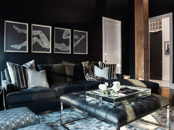 decorate living room with black couch two tone paint ideas for ostrich tufted ottoman contemporary