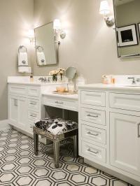 Mirrored Vanity Stool - Transitional - Bathroom