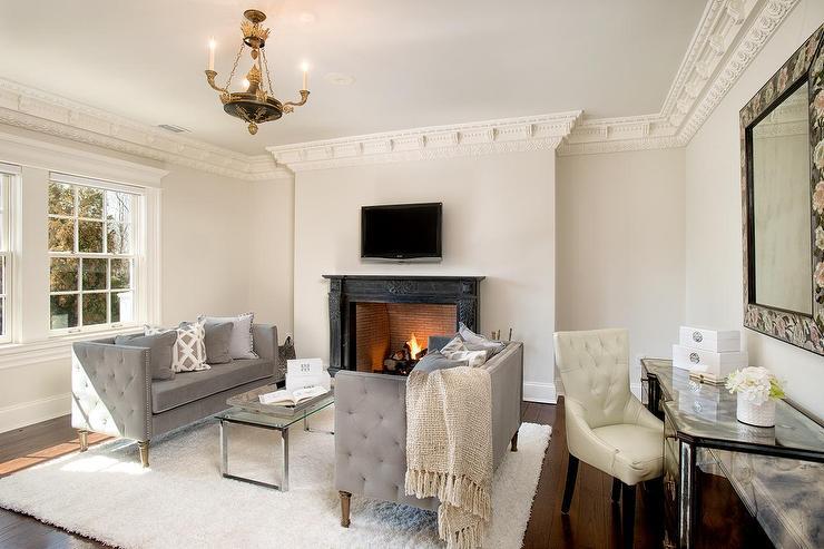 living room desk christmas curtains for gray french velvet tufted sofas transitional