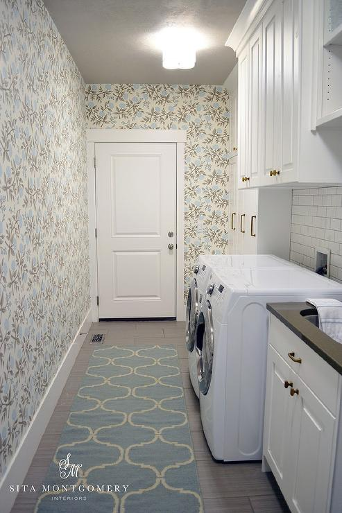 Long Laundry Room Design  Transitional  Laundry Room