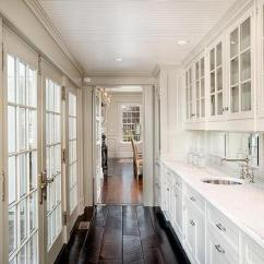 White Kitchen Cabinets Glass Doors With Sink Long Butlers Pantry French Casement ...