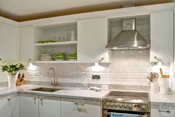 beveled subway tile kitchen cabinet glass doors white flat front cabinets with gray marble countertops