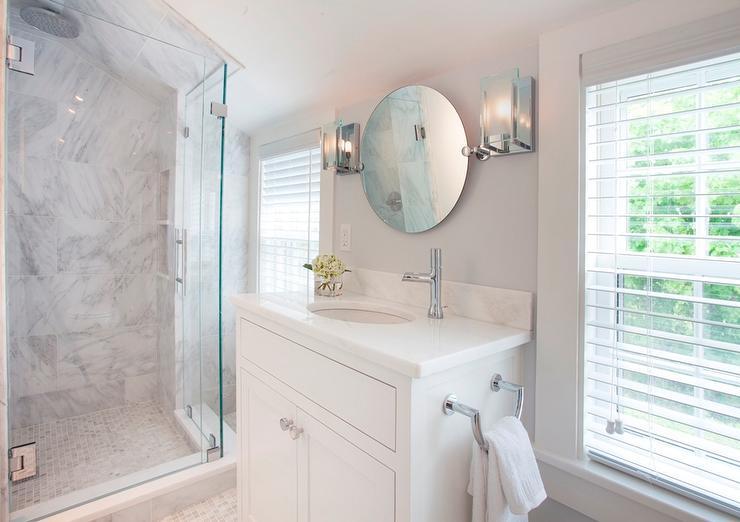 White Vanity with Round Pivot Mirror  Cottage  Bathroom