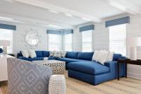 Blue Sectional with White Coffee Table - Cottage - Living Room