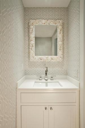 powder mirror gray rectangular walls rooms sink grey bathroom seashell trellis vanities decorpad clad lined features beach idea coastal sinks
