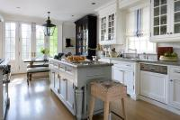Grey Kitchen island with Grey Granite Countertop - Cottage ...