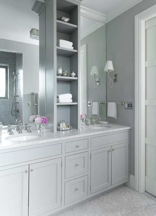 bathroom vanity with center tower