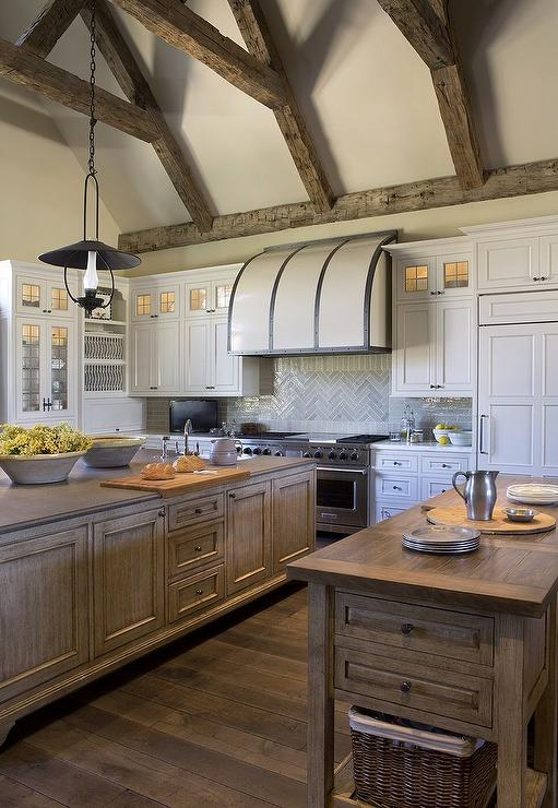 White Barrel Kitchen Hood With Steel Straps Transitional Kitchen