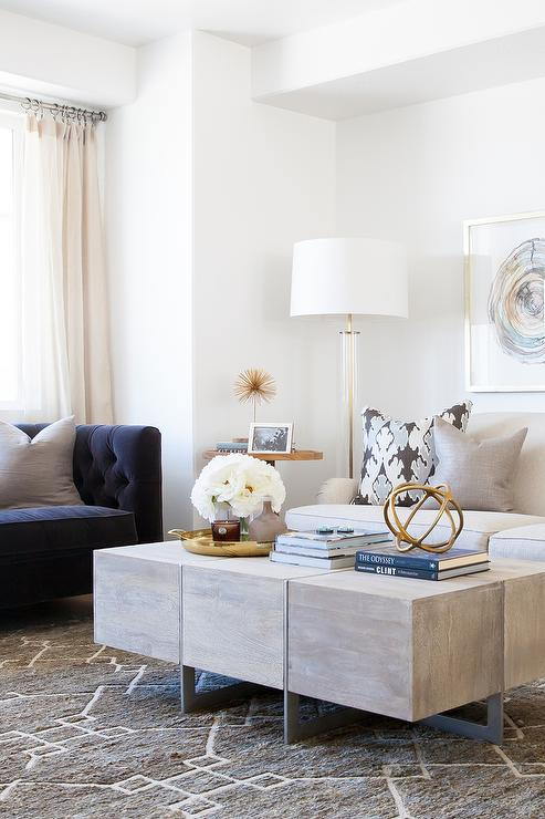 gray linen tufted sofa round sectional uk blue and living room design - contemporary