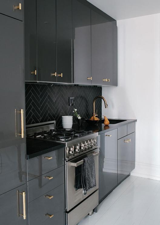 Gray Lacquer Cabinets Design Ideas