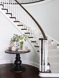 Round Table on Curved Staircase Wall - Traditional ...