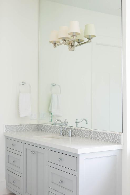 Gray Glass Mosaic Tiled Backsplash  Transitional  Bathroom