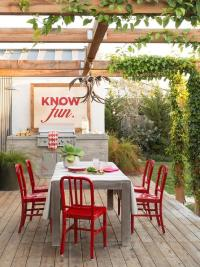 Outdoor Dining Table with Red Dining Chairs - Transitional ...