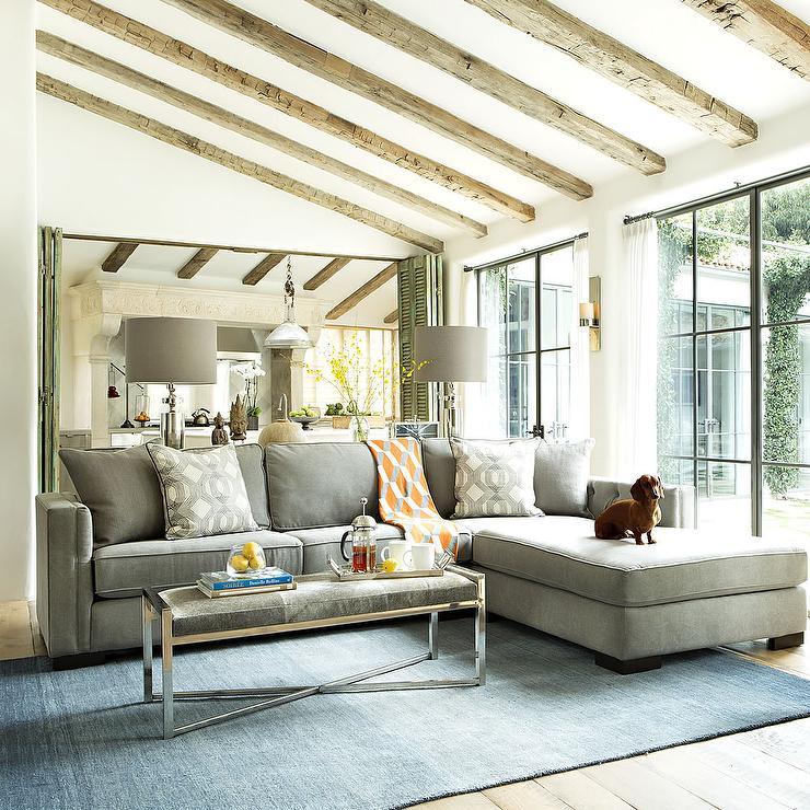 camel tufted sofa chaise sofas lafer ponta de estoque living room sloped ceiling design ideas