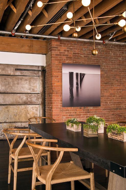 Loft Dining Room with Exposed Brick Walls  Modern  Dining Room