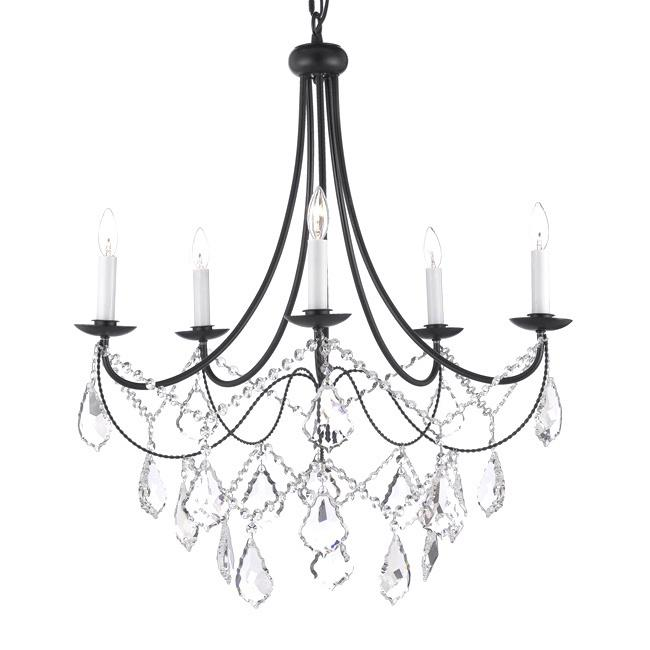 Versailles 5 Light Wrought Black Iron And Crystal Chandelier