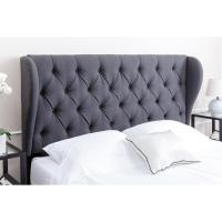 Abbyson Living Chambers Tufted Charcoal Linen Queen Full
