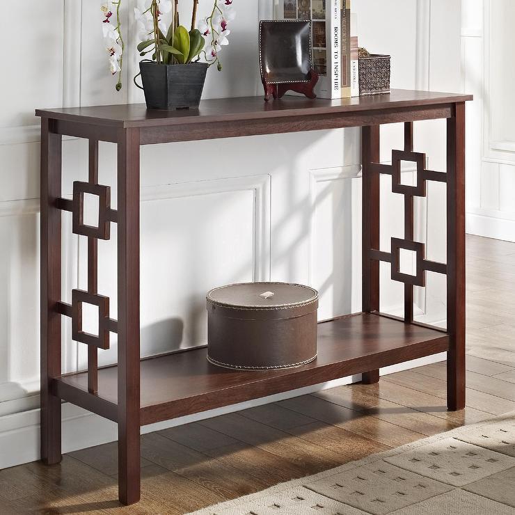 Espresso Square Design Brown Console Sofa Table