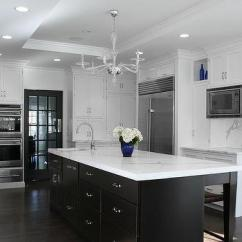 Brushed Nickel Kitchen Hardware Cabinet Hutch White Cabinets With Espresso Island - Transitional ...