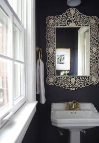 Black and White Powder Room with Black Bone Inlay Mirror