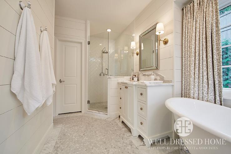 Corner Walk In Shower with White Herringbone Tiles