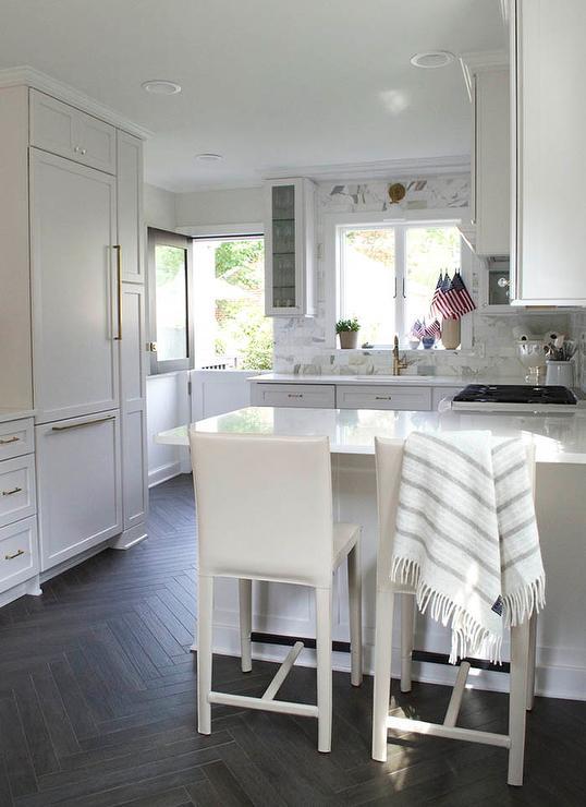 Kitchen with Dark Stained Herringbone Floor  Transitional