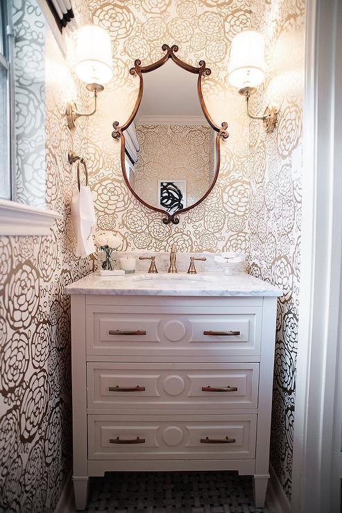 Tiny Powder Room Wallpaper  Transitional  Bathroom