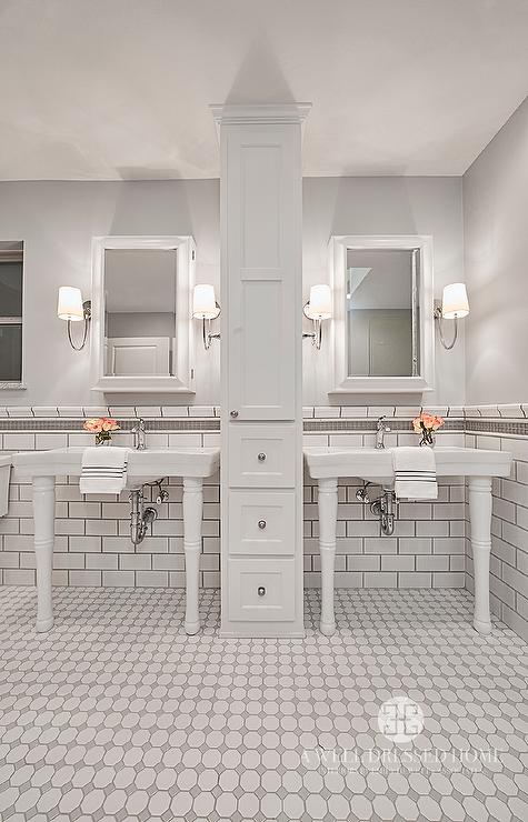 White and Grey Bathroom Tiles  Transitional  Bathroom