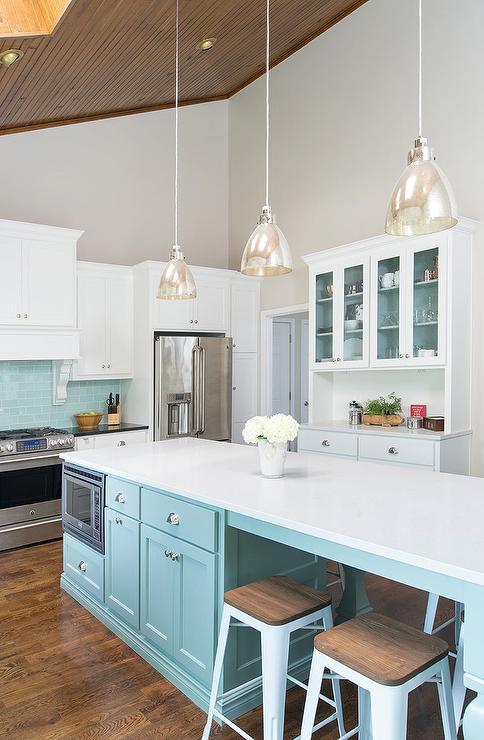 Tiffany Blue Kitchen Island  Transitional  Kitchen