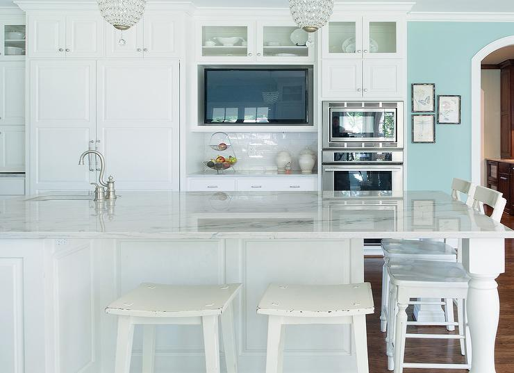 Teal Kitchen Island