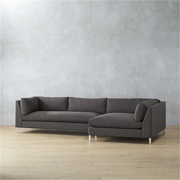 grey tweed sectional sofa red upholstered decker 2 piece