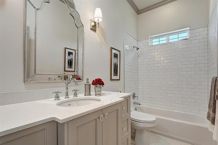 Gray Bathroom Vanity with Glass Knobs  Transitional  Bathroom