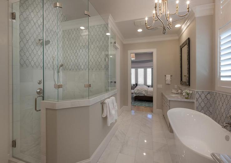 Walk In Shower Across From Tub  Transitional  Bathroom