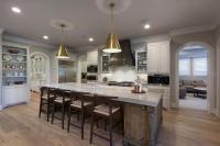 Gray Kitchen Hood with Brass Straps - Transitional - Kitchen