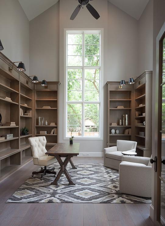 Home Office with Vaulted Ceiling  Transitional  Den