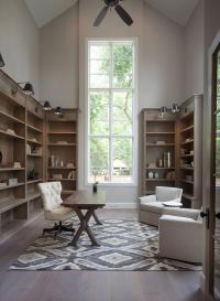 Home Office with Vaulted Ceiling - Transitional - Den ...