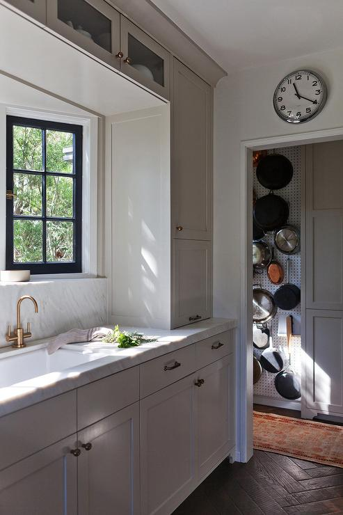 Walk In Pantry Pot And Pan Wall Rack Transitional Kitchen
