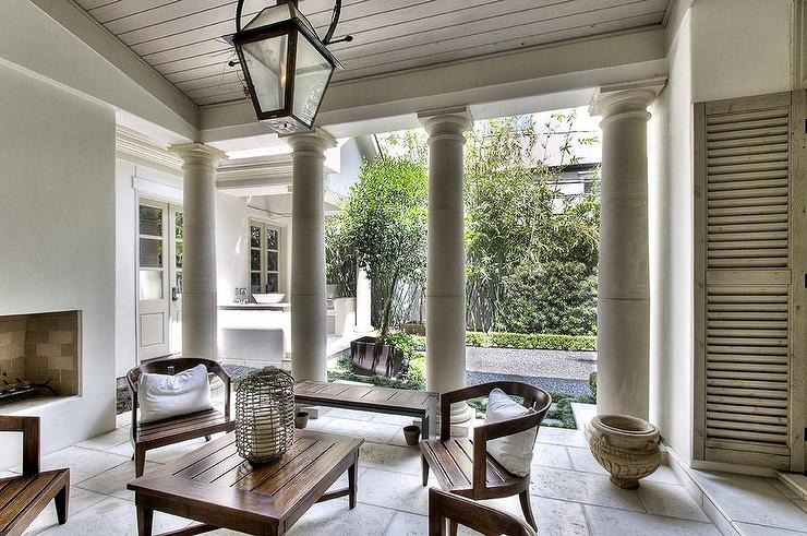 Covered Patio with Doric Columns  Transitional  Deckpatio