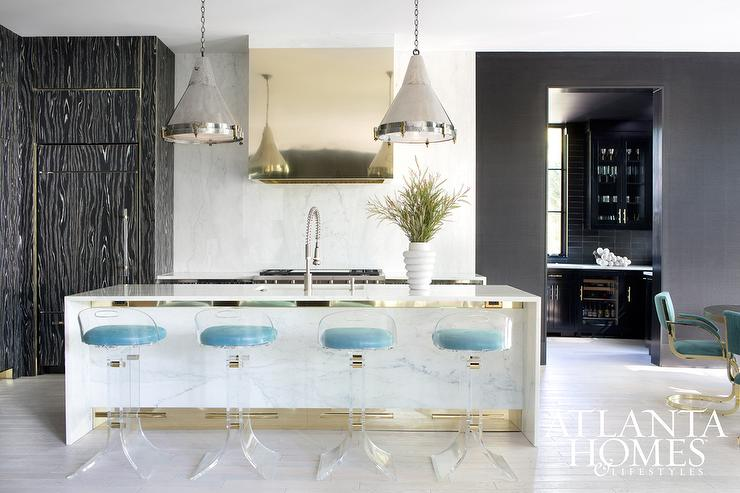 White Marble Waterfall Kitchen Island With Lucite Barstools