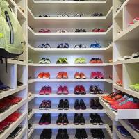 Mudroom with Stacked Pull Out Shoe Shelves - Transitional ...