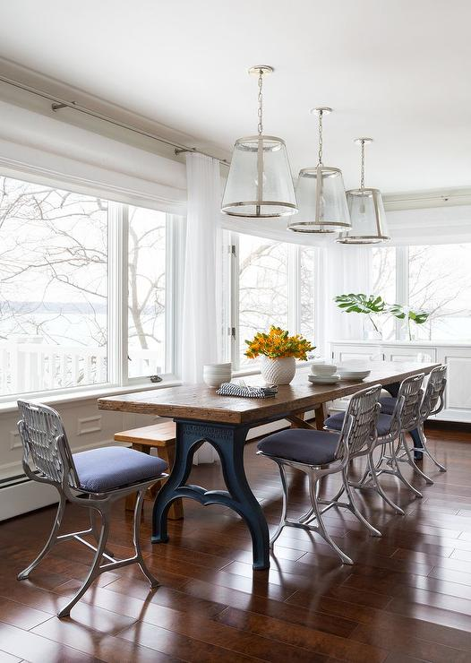 Industrial Metal Dining Chairs  Transitional  Dining Room