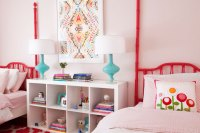 Pink and Red Girls Bedrooms - Transitional - Girl's Room