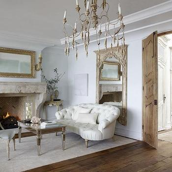 french living room design ideas wall decor for white and blue with tufted settee mirrored coffee table